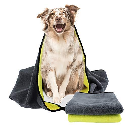 ShawFly Toalla absorbente para perros, 2 unidades, microfibra de secado rápido, súper absorbente,...