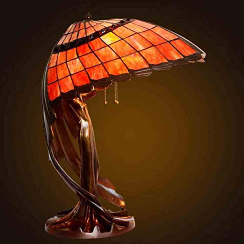 Lámpara de mesa de estilo Tiffany, estilo retro, de cristal, para salón, dormitorio, decoración de mesita de noche, cobre