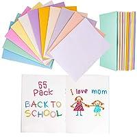 ミニノート 日記 ブランクブック 子供 学生用 アソート鮮やかな色 24ページ 55パック (4.25 x 5.5インチ)