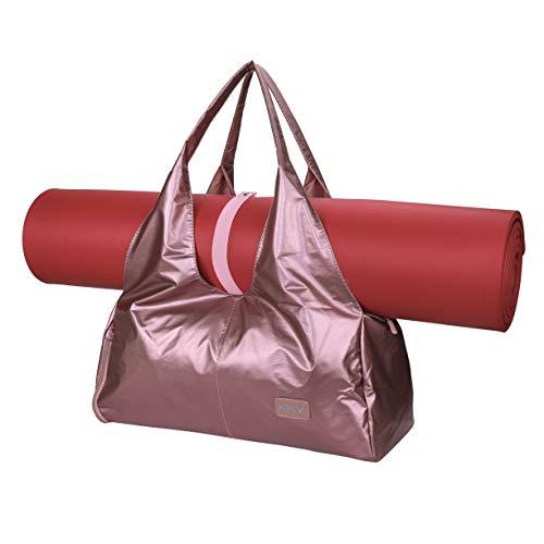 Bolsas de Gimnasio Mujeres, Zip Bolsa de colchoneta de yoga Grande, Bolsa de asa de yoga con correa, con Compartimento para Zapatos y Bolsillo Húmedo Bolsa de Viaje para Natacion Bailando Rosa