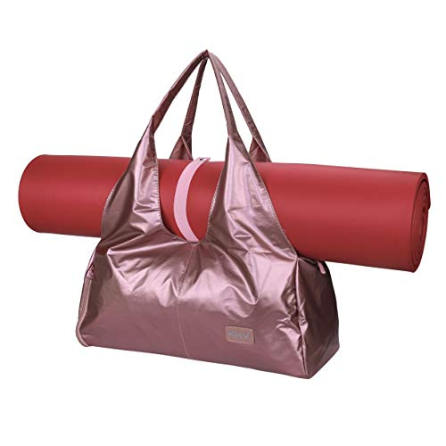 Borsa da Palestra da Donna, Grande Borsetta da Viaggio con Scompartimento per Scarpe, Borsa a Spalla per Fitness Yoga Sport Tappetino, Oro Rosa Carry on Duffel Bag