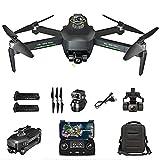 rzoizwko Drone, Drone GPS con cardán de 3 Ejes, Drones GPS con cámara 4K HD para Adultos, Drone Quadcopter UAV 5G WiFi FPV, RC Drone 360deg;evasión automática de obstáculos, con 2 baterías 50x Zoom