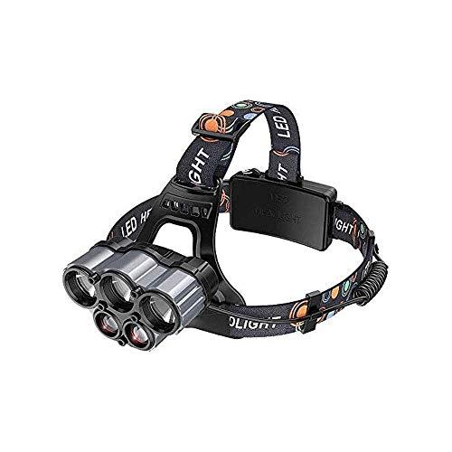 JIAXU Linterna recargable 5 LED 6 modos USB recargable faro impermeable LED cabeza antorcha linterna para acampar pesca al aire libre