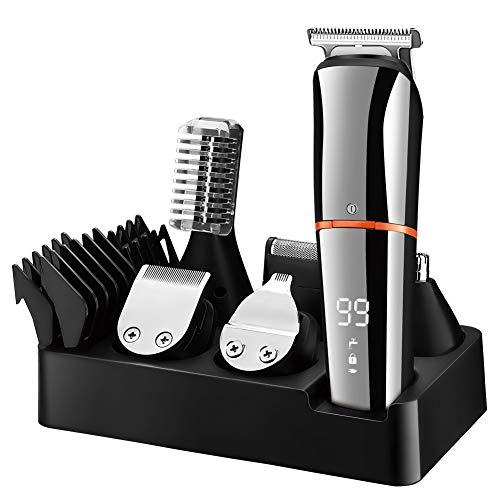 SURKER Barttrimmer Bartschneider für Herren Haarschneider Haartrimmer Körperhaare Nasenhaar Groomer Kabellose Präzisionstrimmer 6 in 1 Multi-Grooming-Kit Wasserdicht Wiederaufladbar