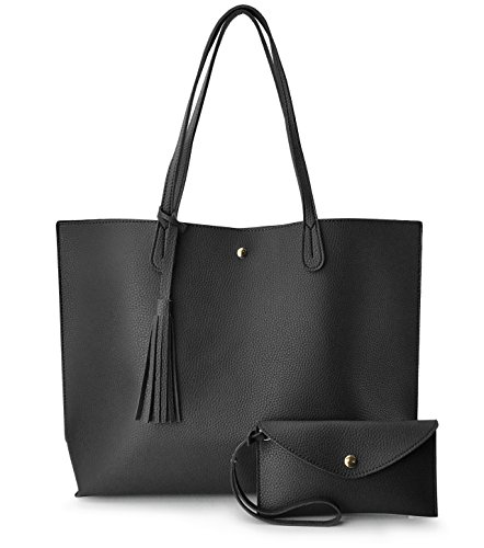 Minimalist Clean Cut Pebbled Faux Leather Tote Womens Shoulder Handbag (Black)