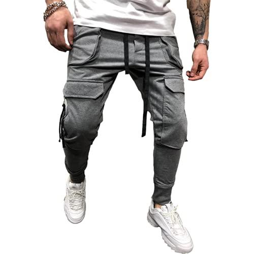 Huntrly Pantalones de Jogging para Hombre Pantalones Deportivos Ajustados Multibolsillos con Cremallera de Tendencia Europea y Americana, adecuados para Ejercicios de Entrenamiento para Correr 3XL