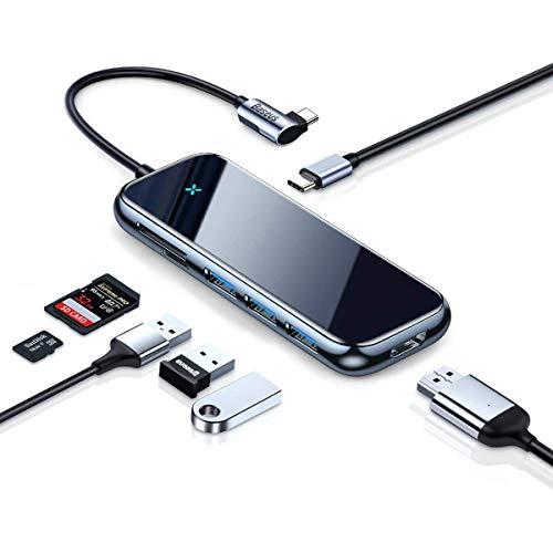 Baseus USB C Hub, 7 IN 1 Typ C Hub mit 100 W PD-Stromversorgung, 4K HDMI, SD/Micro SD-Kartenleser, 3 USB 3.0 Anschlüsse Kompatibel mit MacBook Pro