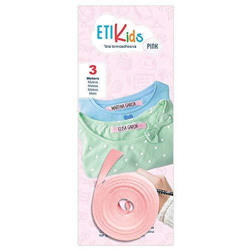 1rotolo di nastro in tessuto da 3metri x 1 cm, di colore rosa Etichetta termoadesiva personalizzabile con scritte a penna. Penna non inclusa.