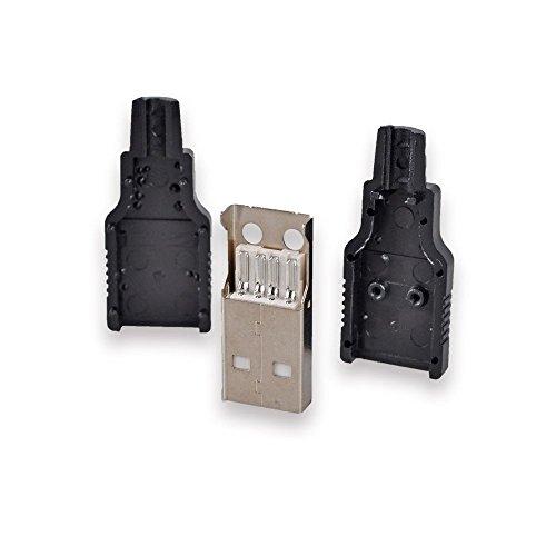 Conwork - Adaptador USB 2.0 tipo A macho, conector USB de 4 pines con cubierta de plástico negro, 20 unidades