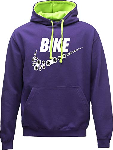Hoodie: Neon Bike - Fahrrad Kapuzenpullover für Herren & Damen - Geschenk Radfahrer Radsport - Sweatshirt Mountain-Bike MTB Rennrad Tour - Sweater Outdoor Hoody Hooded Kapuze-n Pullover (Lila L)