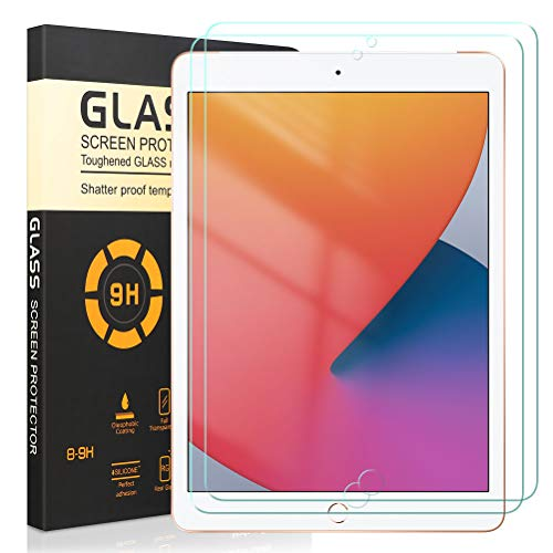 [2 Pack] Screen Protector for iPad 10.2 2020, 9H Hardness, Anti Scratch, No Bubbles and High Definition Premium Tempered Glass Screen Protector Compatible iPad 10.2 2020 10.2 inch