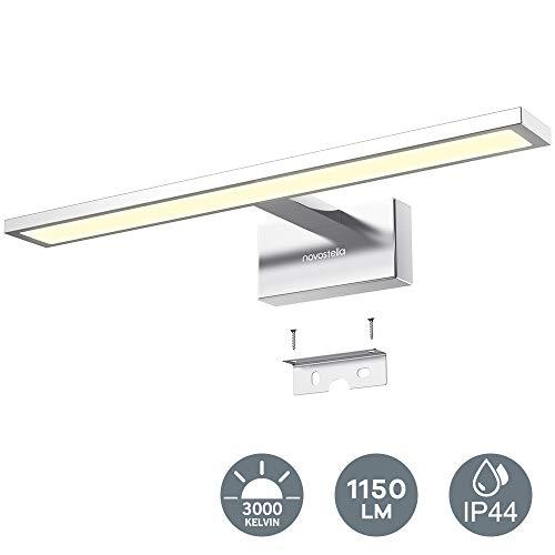 Novostella LED Spiegelleuchte 15W Badleuchte Verchromte Aluminiumlegierung 3000K IP44 wasserdicht LED Schminklicht 1150lm 40CM, sicher zu benutzen CE und RoHs zertifiziert (400x125x60mm), Warmweiß