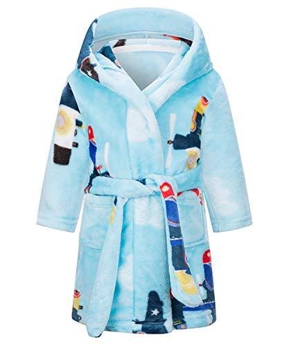 Happy Cherry - Vestido de noche de franela para niño, niño, niño, niño, niña, otoño, invierno, ropa de noche, albornoz, forro polar para niños de 1 a 8 años azul 7-8 Años
