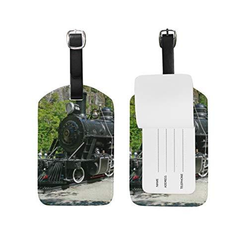 Etichetta per bagagli per bagagli Valigia Motore a vapore Treno Treno Borsa da viaggio in pelle Etichette per indirizzo 1 pezzo