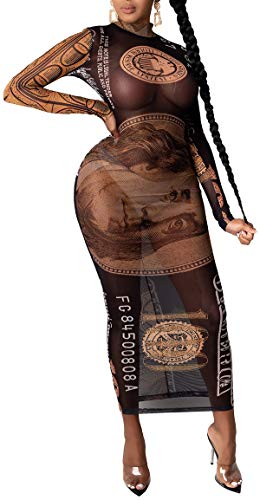 FairBeauty Women's Bodycon Mesh Floral Print Sheer Dress Long See Through Maxi Dress Swimsuit Cover Up Dresses