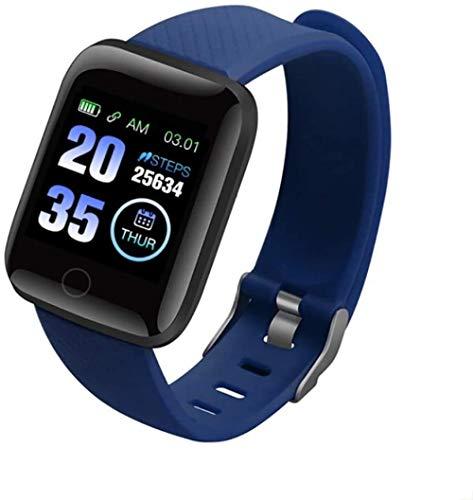 SHIJIAN Pantalla táctil completa inteligente impermeable rastreador de fitness con monitor de ritmo cardíaco y monitor de sueño contador de pasos, regalos para hombres y mujeres-azul