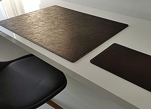 Vade de escritorio con alfombrilla para ratón en piel Lora 60 x 40 cm, color marrón oscuro