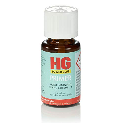 HG POWER GLUE Primer - Klebevorbehandlung Haftvermittler für PP, PE, EPDM, PTFE, Silikon, wachs- oder ölhaltige Kunststoffe - KFZ-Bereich Scheinwerferhalterung Spielzeuge (15 ml)