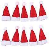 Fully 10er/Set Weihnachten Mütze Weihnachtsmütze Hut für Puppen Lolli Bonbon (Kopfumfang...