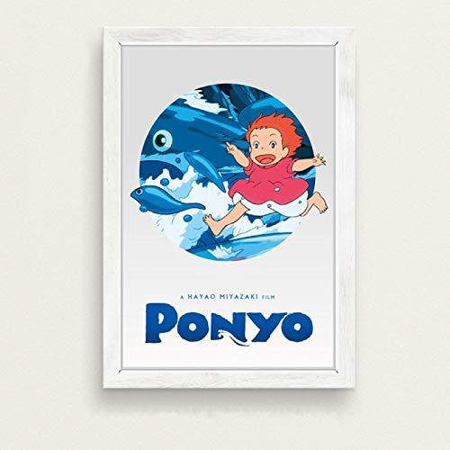 Decoración para el hogar cuadro sobre lienzo para pared cuadro Ponyo en el acantilado Miyazaki Hayao película de dibujos animados cartel nórdico sala de estar JW-2446 Sin marco Poster 50X70Cm