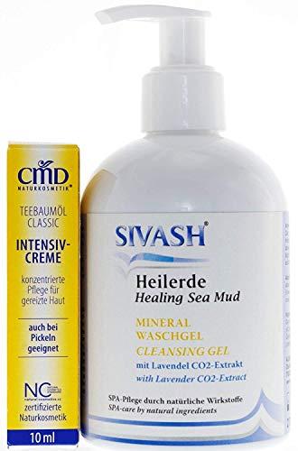 Pflegeset für unreine, fettige Haut: SIVASH-Heilerde Mineral Waschgel 270ml + Teebaumöl Intensivcreme 10ml