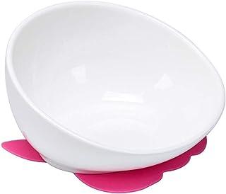 OMEM Flat Face Dog Dish Food Bowl Smooth Ceramics Made (White)