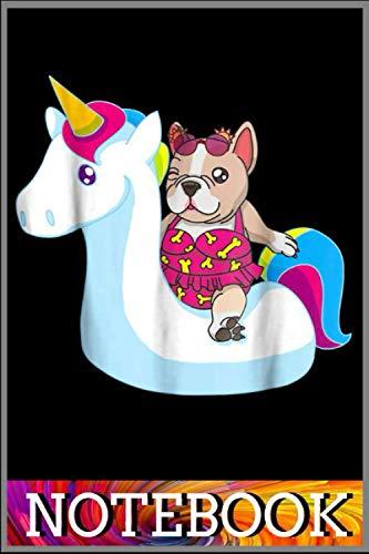 French Bulldog Bikini On Unicorn Float Funny Dog T Shirt notebook funny: French Bulldog Bikini On Unicorn Float Funny Dog T Shirt