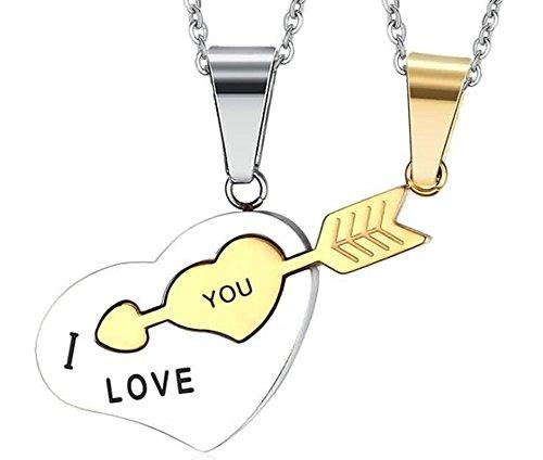 AnazoZ roestvrij stalen halsketting voor heren en dames, halsketting, hangers, harten met A Arrow I Love You
