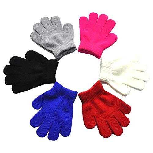 Zoylink 6 Paar Kinderhandschuhe Strickhandschuhe Winter Warm Solid Color Handschuhe für Kleinkind