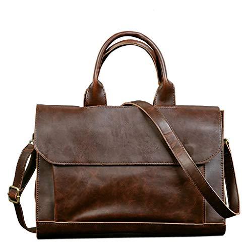 NYDZDM Lederen Aktetas voor zaken/kantoor/werk/vrouwen/mannen, 14 inch laptoptas, grote Satchel, schoudertas, handtas