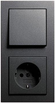 GIRA E2 anthrazit (1x Steckdose, 1x Wechselschalter, 1x Rahmen 2fach, 1x Wippe)