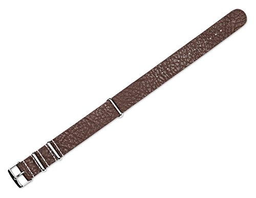 Replacement Calf Leather Watch Band - Military Style One Piece Leather - Brown - 20mm
