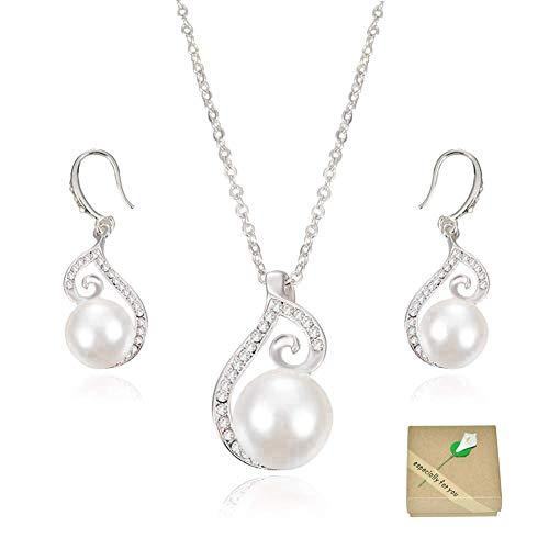 SwirlColor Bridal Jewellery Sets Artificial Pearl Rhinestone Necklace Pendant Earrings Set for Women / Girls / Brides