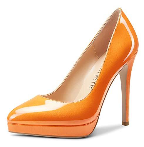Castamere Womens High Heels Platform Pumps Slip-on Stilettos 12CM Heel Office Dress Shoes Orange Pearlescent Shoes 12 M US
