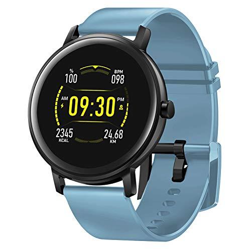 Smartwatch 1.2 Zoll HAOQIN QS2 - Sportuhr für Damen Herren Kinder Fitness Tracker mit IPS-Touchscreen Herzfrequenz Blutdruck- und Schlaftracking IP67 Wasserdicht Kompatibel mit Android IOS(Blau)