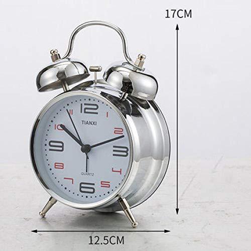FPRW 4 inch dubbele bel metalen wekker, grote ringtone mechanische wekker, retro wekker, creatief licht eenvoudige klok, witte wijzerplaat