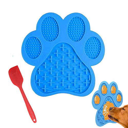 Uspace Dog Cat Lick Pad Peanut Butter Slow Feeder Dog Bowls Pet Dispensing Treat Mat Suctions to Wall for Bathing,Grooming,and Training