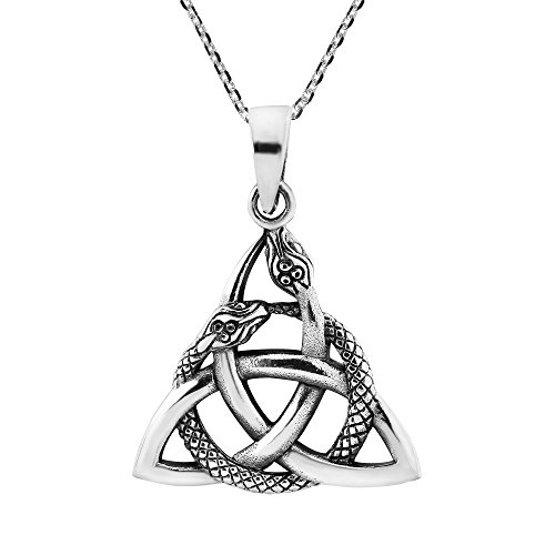 AeraVida Interwoven Snakes Triquetra or Trinity Knot .925 Sterling Silver Pendant Necklace