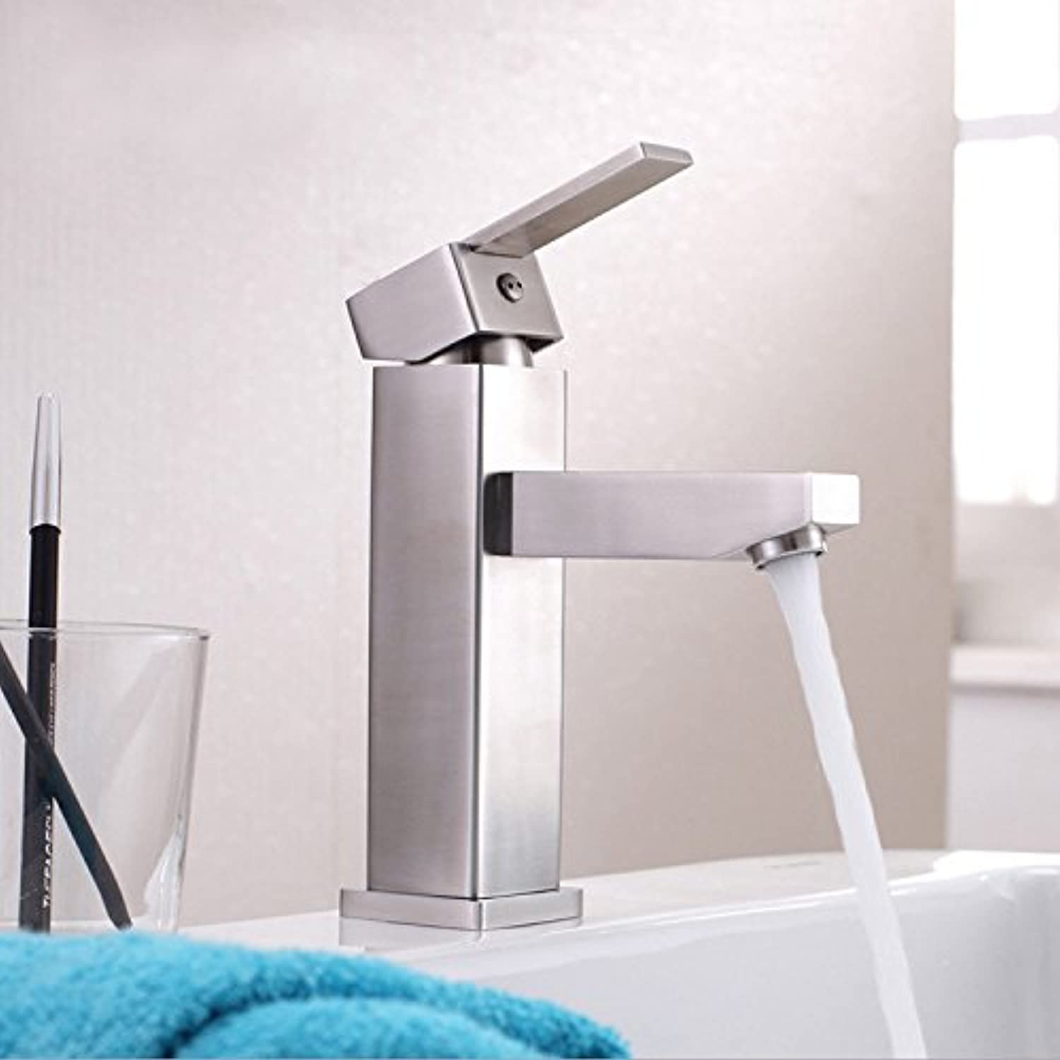 Basin faucet _ stainless steel faucet basin faucet hot and cold drawing of single hole faucet