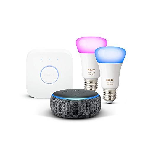 Nouvel Echo Dot (3ème génération), Tissu anthracite + Kit de démarrage Philips...