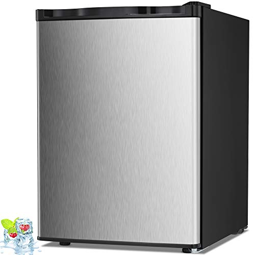 Kismile 2.1 Cu.ft Compact Upright Freezers with Reversible Single Door,Removable Shelves Mini Freezer with Adjustable Thermostat for Home/Kitchen/Office (2.1 Cu.ft, Stainless Steel)