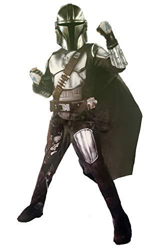 Mandalorian The Beskar Armor Kids Halloween Costume Gloves Mask Belt (Medium 7-8) Black