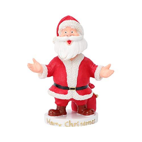 PRETYZOOM Harz Santa Claus Weihnachten Santa Claus Figur Kopfschütteln Weihnachten Geschenk Puppe für Weihnachten Desktop Fenster Fenster Dekoration Spielzeug Stil 2