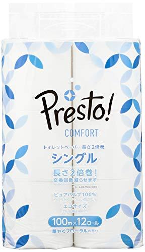 スマートマットライト [Amazonブランド]Presto! Comfort トイレットペーパー 長さ2倍巻 100m x 12ロール シングル (12ロールで24ロール分)