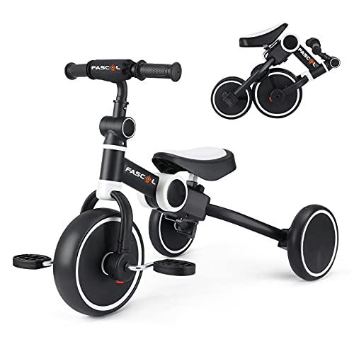 Fascol 4 en 1 Triciclo para Niños, Bicicleta Bebé Plegable con Pedales Desmontables, Bicicleta sin Pedales con Asiento Ajustable, Bicicleta de Equilibrio para Niños de 2 a 5 Años, Negro