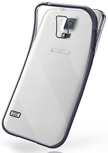moex Transparente Silikonhülle im Chrome-Style kompatibel mit Samsung Galaxy S5 / S5 Neo   Flexibler Schutz mit Hochglanz Metallic Rahmen, Anthrazit