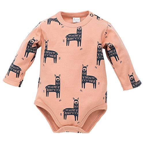 Pinokio - Happy Llama - Body bébé - Langarmbody 100% Coton - crème, Vert pour Les garçons avec Llama Filles Unisexe, aux Nouveau-nés 56 62 68 74 (74 cm, Orange)