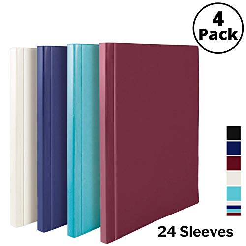 Dunwell Binders with Plastic Sleeves (Assorted 4 Colors, 4 Pack), 24-Pocket Bound Presentation Books with Clear Sleeves, Displays 48 Pages of 8.5x11 Inch Letter Size Inserts, Sheet Protector Binders