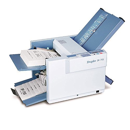 Duplo DF-755 Manual Paper Folder, Folds up to 120 sheets per minute, 500-sheet feed capacity, 4-digit LCD counter keeps accurate count of folded documents, Two knobs to make fine-tune adjustments for fold set up