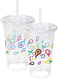 Nicole Home Collection 07822 10 Count Paisley Ice Coffee Cups with Lids and Straws, 24 oz, Multicolor